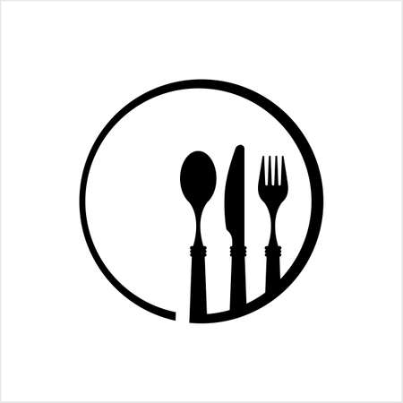 Dish Fork Knife Spoon Icon Vector Art Illustration  イラスト・ベクター素材