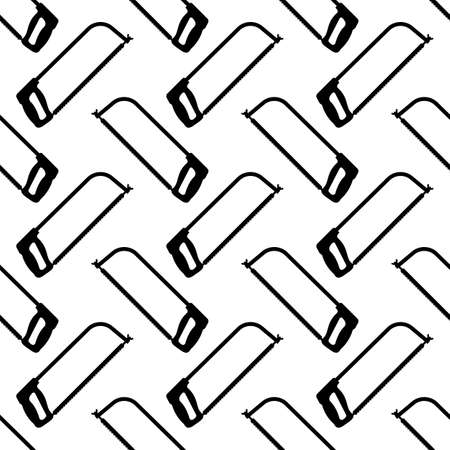 Hacksaw Isolated Icon Seamless Pattern Vector Art Illustration