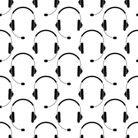 Headphone Icon Seamless Pattern Vector Art Illustration  イラスト・ベクター素材