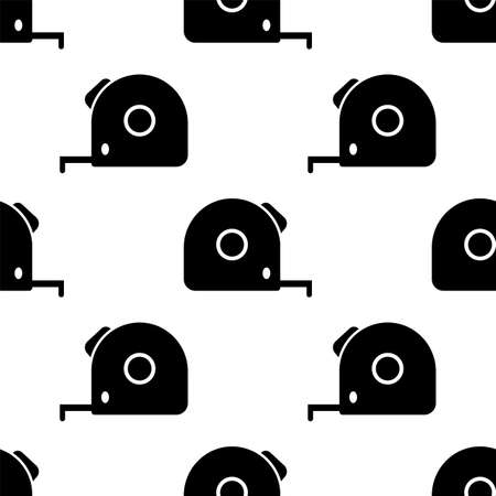 Tape Measure, Measurement Tape Icon Seamless Pattern Vector Art Illustration