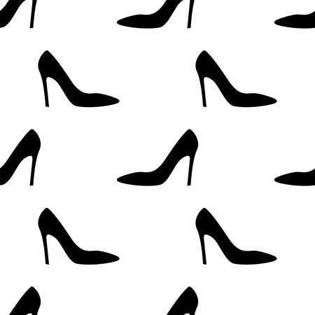 Woman Shoes, Girl Seamless Pattern Vector Art Illustration Иллюстрация