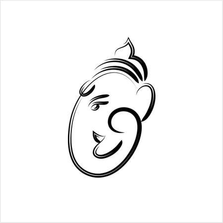 Ganesha el señor de la sabiduría diseño ilustración de arte vectorial