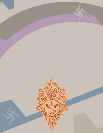 Durga Goddess Of Power, Divine Mother Of The Universe Design Vector Art Illustration Ilustração