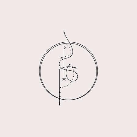 Line Dot Tattoo Design Vector Art Illustration Vetores