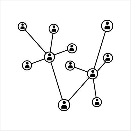 Network Connection, Hub, Social Network Isolated Flat Line Icon Design Vector Art Illustration Vektorové ilustrace