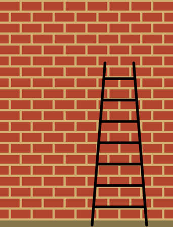 Ladder Against Brick Wall Vector Illustration