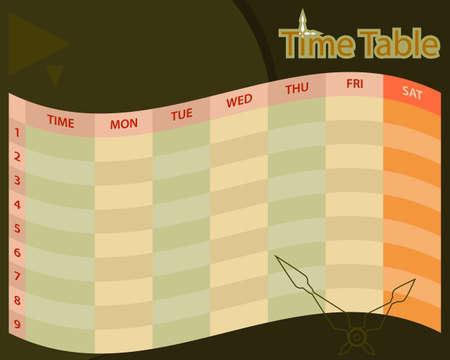 Timetable Schedule Planner Vector Illustration 向量圖像