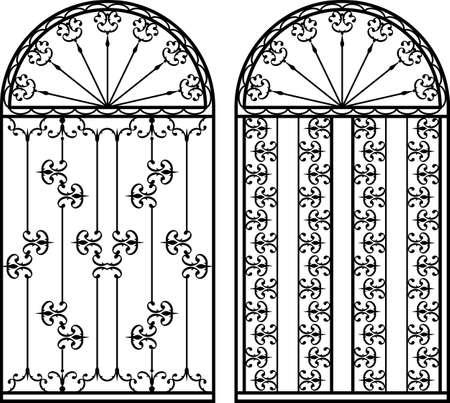 Wrought Iron Gate, Door, Fence, Window, Grill, Railing Design Vector Illustratie