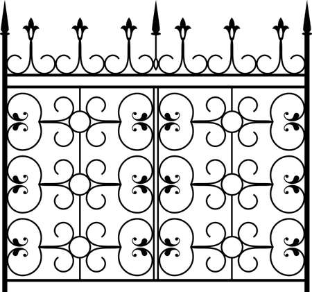 Wrought Iron Gate, Door, Fence, Window, Grill, Railing Design Vettoriali