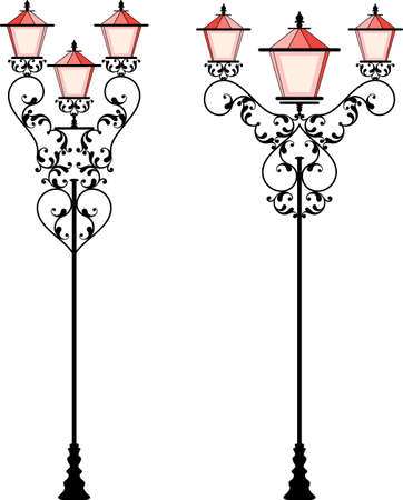 Wrought Iron Street Lamp Post Vector Illustration Illusztráció