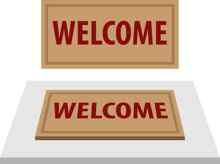 Welcome Carpet, Doormat with Welcome Text Vector Illustration Ilustração