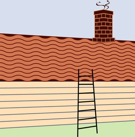 Ladder Inclined to Roof Vector Illustration
