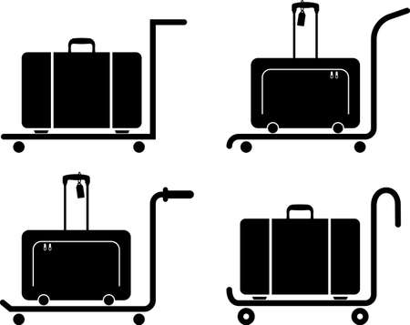 Suitcase on Trolley (Hand Truck) Vector Illustration