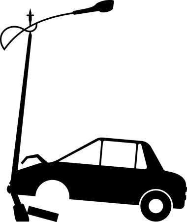 Car Crashed into Street Light Pole Vector Illustration