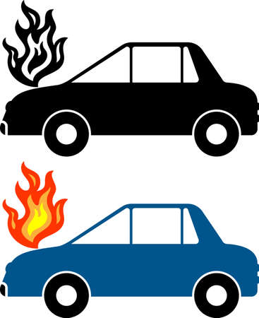 Car Fire Vector Illustration