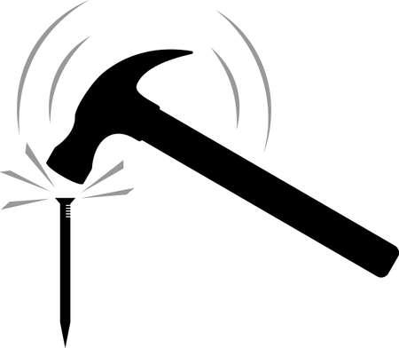 Hammering A Nail Vector Illustration