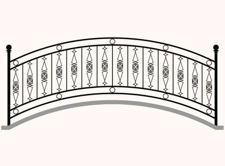 Arch Bridge Railing Vector Illustration 矢量图像