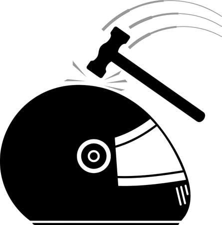 Hammer Strike On Helmet Vector Illustration Illustration