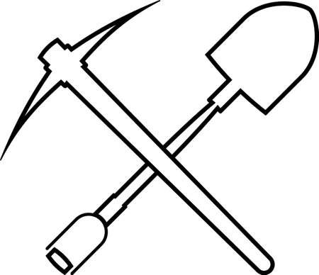 Shovel And Pickaxe Icon Vector Illustration