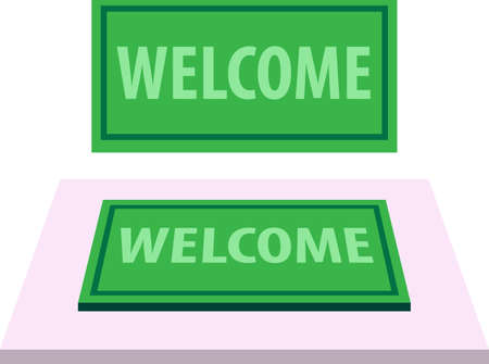 Welcome Carpet, Doormat with Welcome Text Vector Illustration