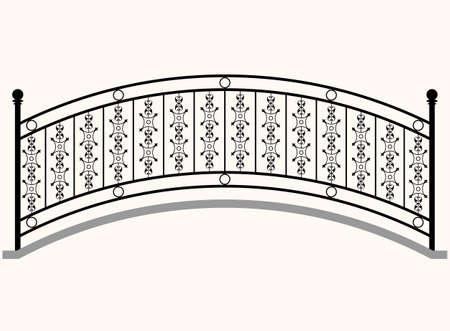 Arch Bridge Railing Vector Illustration