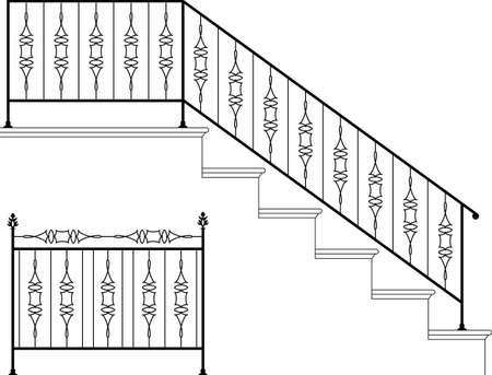 Wrought Iron Stair Railing Design Vector Art Ilustración de vector