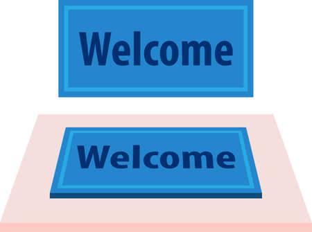 Welcome Carpet, Doormat with Welcome Text Vector Illustration Illustration