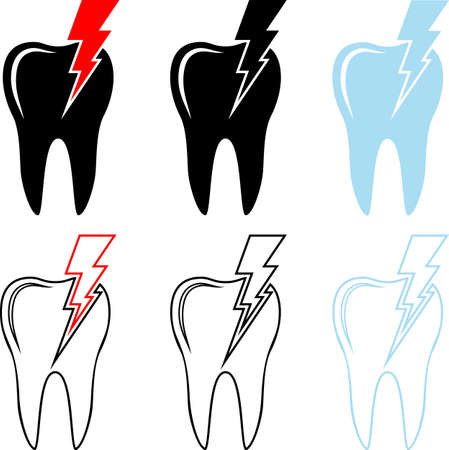 Tooth Icon, Pain in Tooth Vector Illustration Vecteurs