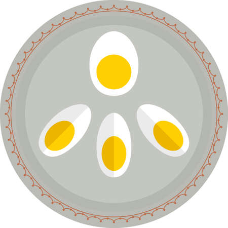 Boiled Eggs In Plate Vector Illustration