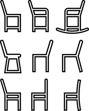 Chair Icon Set Vector Illustration