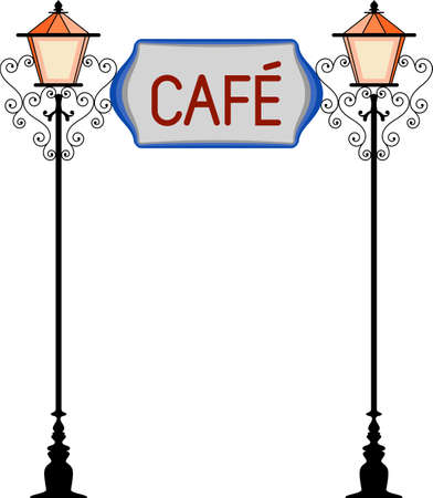 Wrought Iron Cafe Signage With Lamp Vector Illustration Illustration