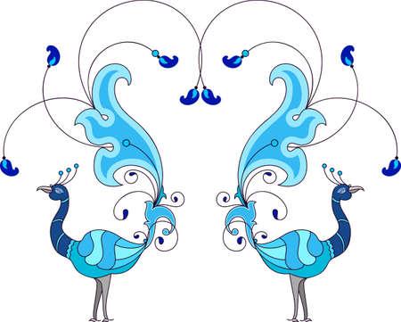 Peacock Artistic Hand Drawn Vector Art Vettoriali