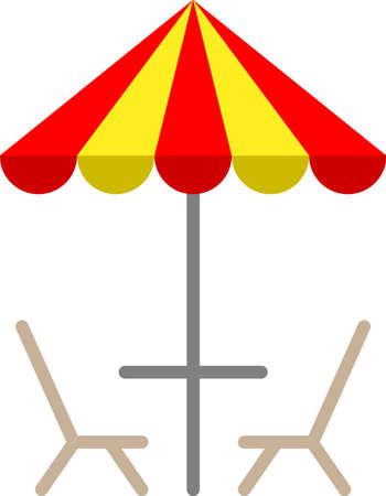 Table Chair Under Umbrella Icon Vector Illustration