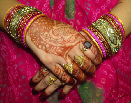 Beautiful hand decorated with heena for marriage  photo