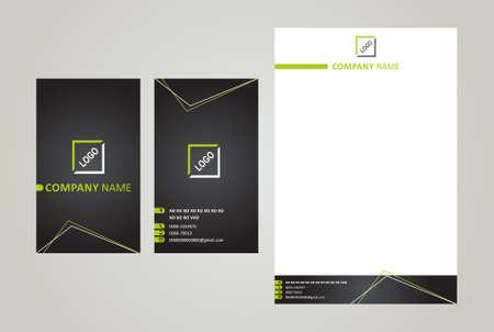 Business Card & Letter Head Black & Green Illustration