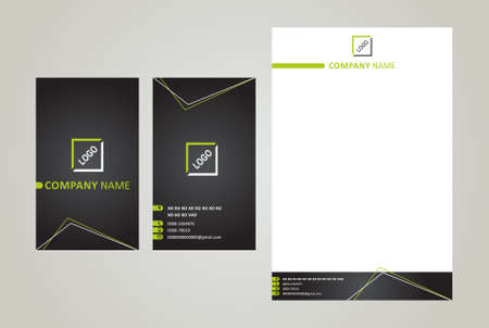 Business Card & Letter Head Black & Green Çizim