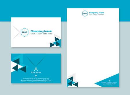 Diseño corporativo de polígono de tarjeta de presentación y membrete