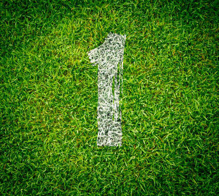 number collection - 1 on green grass seamless texture photo