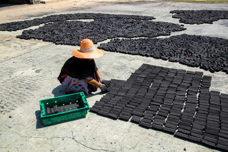 carbuncle: women put charcoal pack bar made from coconut shell on the floor dry in the sun