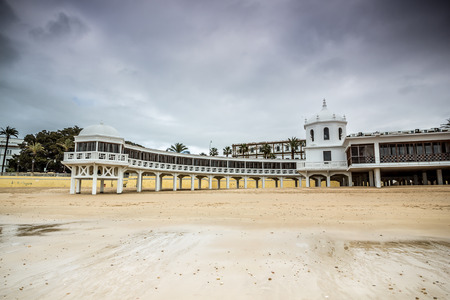 bathhouse: Old bathhouse on the beach of La Caleta, one of the MOST famous sites in the city of Cadiz, Spain