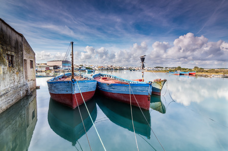 Fishing for tuna fishing boats used by an ancient Phoenician art of fishing called 'Almadraba'. Barbate, Cadiz, Spain.