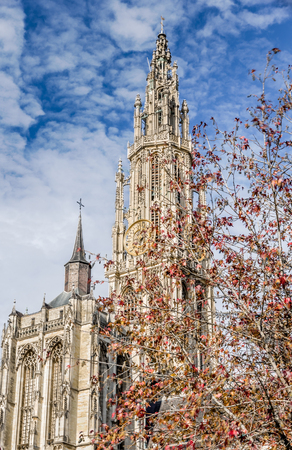 architectural architectonic: view from Groenplaats of Cathedral of Our Lady in Antwerp, Belgium