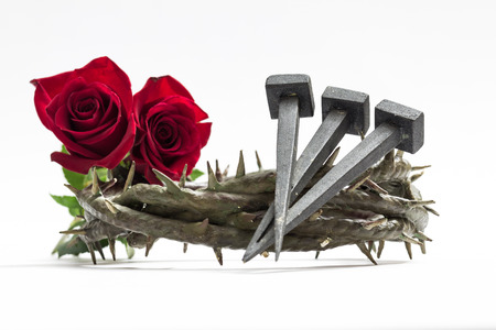 viacrucis: Jesus Christ crown of thorns, nails and two roses on a white background. Stock Photo