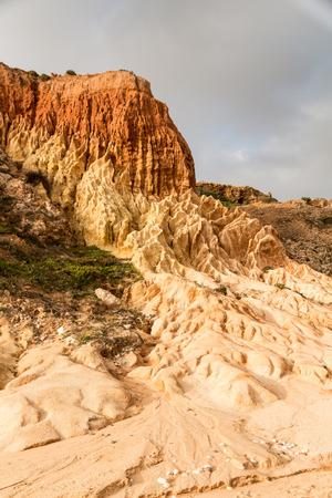 fluvial: Sandstone patterns formed by erosion, in Sagres, Algarve, Portugal