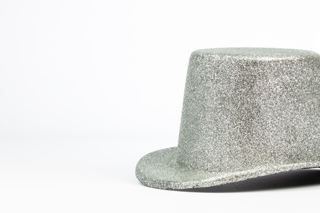 isolated silver tall hat on white background