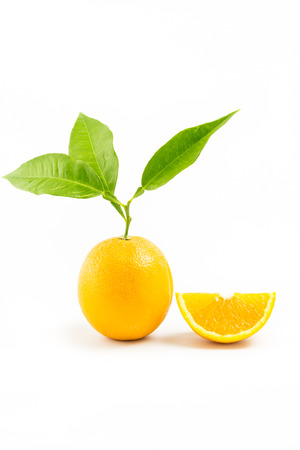 two objects: Fresh oranges isolated with leafs and Orange Slice on white background. Two Objects. Orange Slice.