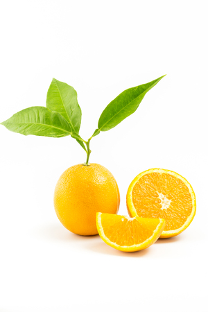 three objects: Fresh orange isolated with leafs and Orange Slices on white background. Three Objects. Orange Slice.