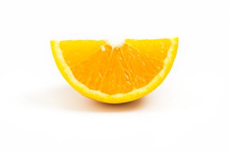 one object: Fresh orange slice isolated on white background. One Object. Orange Slice. Stock Photo