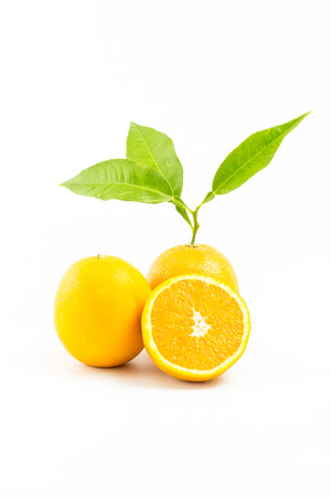 cantle: Fresh oranges isolated with leafs on white background. Group of Objects. Orange Slice.