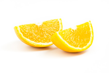 two objects: Two fresh orange slices  isolated on white background. Two Objects. Orange Slices. Stock Photo